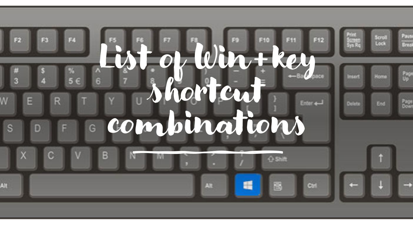 List of Windows key Shortcut combinations min