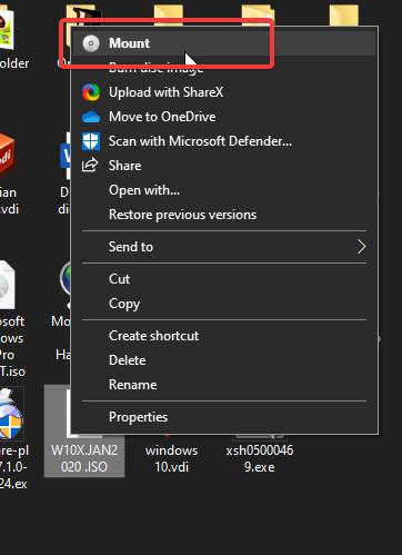 Mount Windows 10 ISO