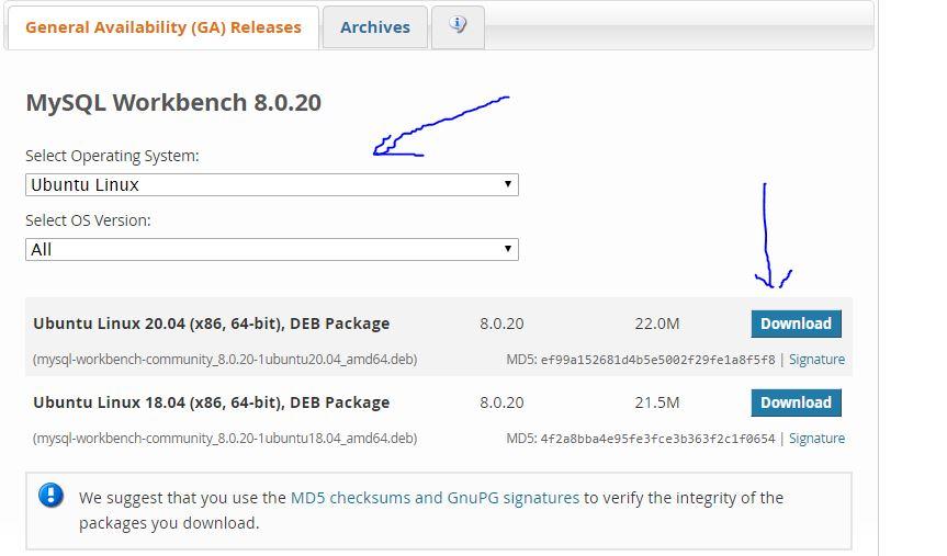 MySQL workbench install on Ubuntu 20.04 using debian packages