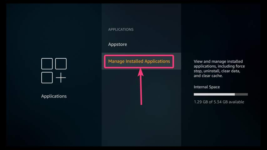 Manage Amazon stick Installed Applications
