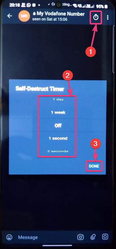 Private chat on Telegram self destruct timer