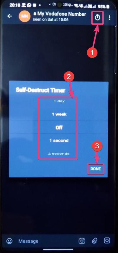 Private chat on Telegram self destruct timer