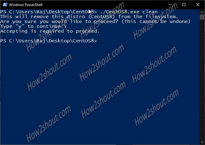 Run CentOS8 WSL uninstallation command