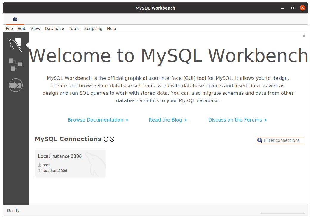 Run mysql workbench