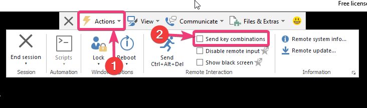 Send key combinations on TeamViewer