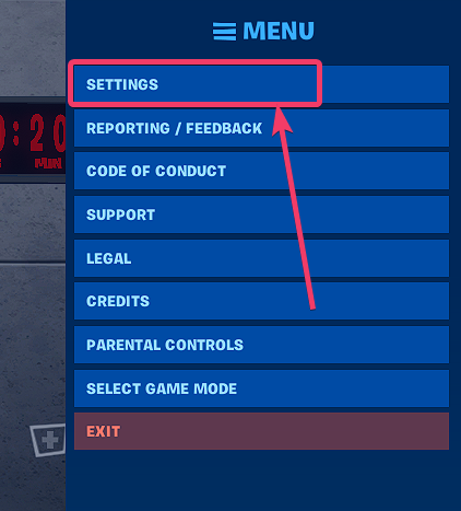 Open Fortnite settings