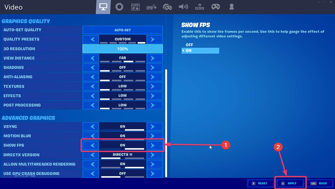 Show FPS on Fortnite 50
