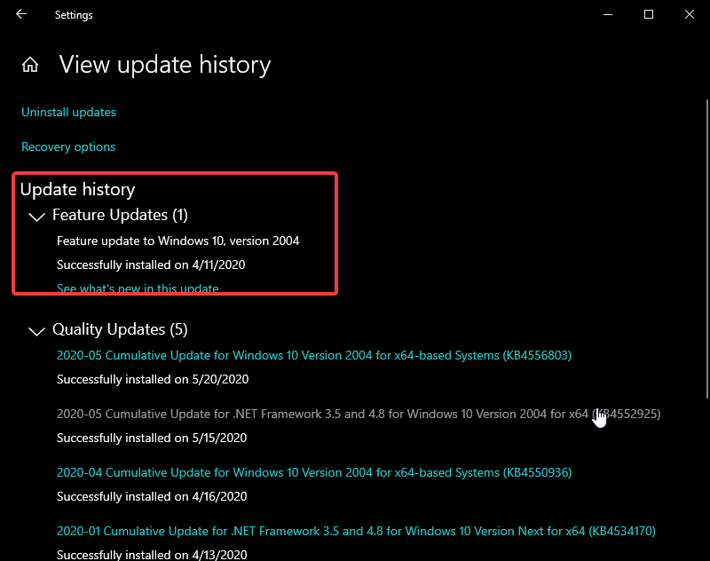 Top feature of Windows 10 May 2020 update