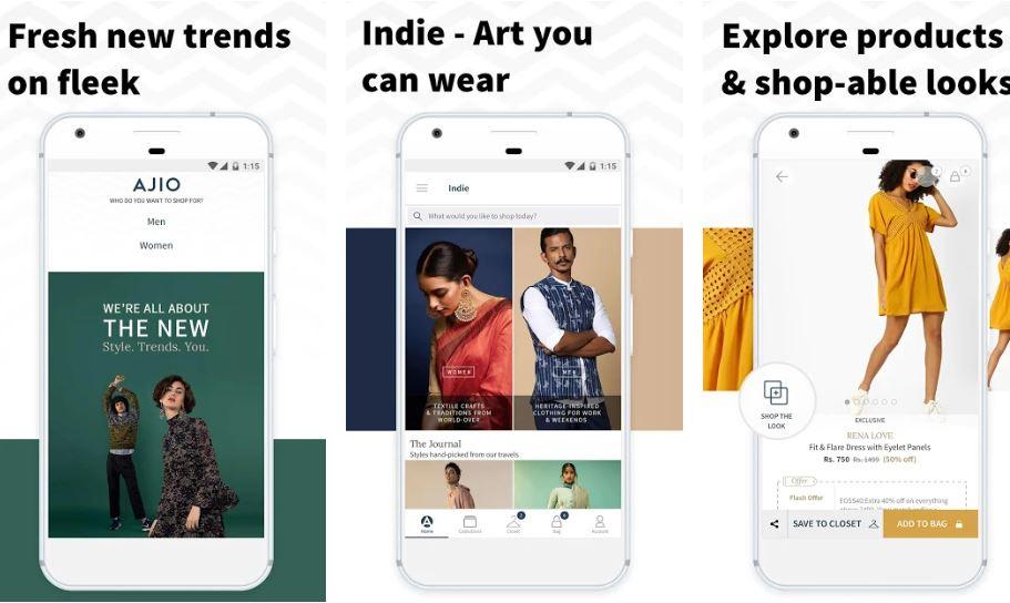 AJIO ecommerce store app min