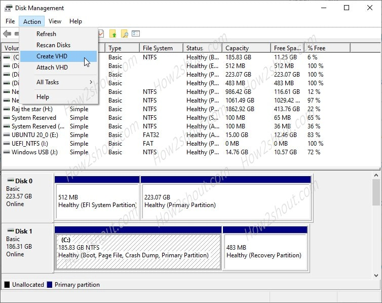 Create VHD in WIndows 10 min