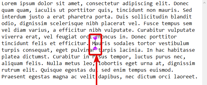 text cursor indicator is enabled.