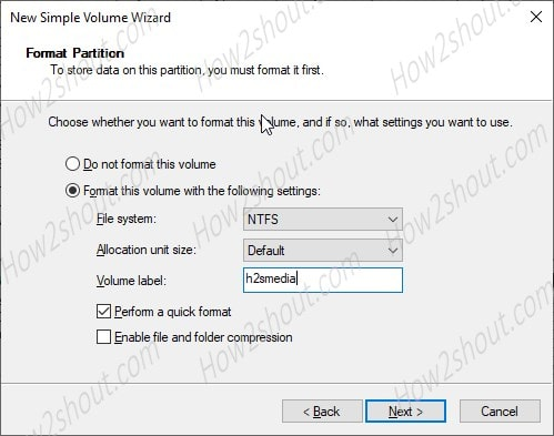 Formate WIndows 10 Virtual Disk partition min