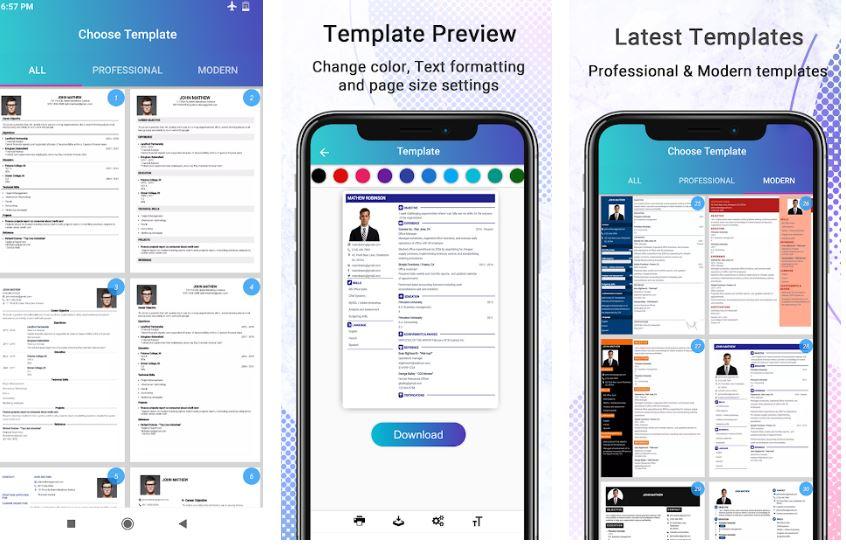 Free CV maker App Freshers PDF min