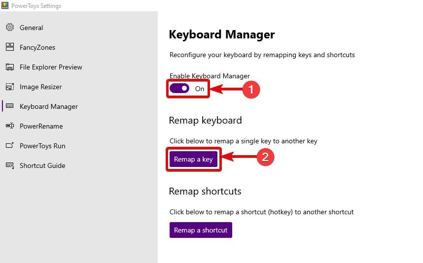 PowerToys Settings Keyboard Manager