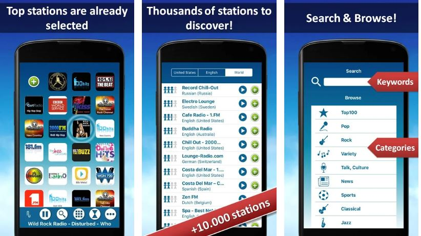 Radio FM with international stations for Android