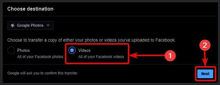 start transferring facebook to Google photos