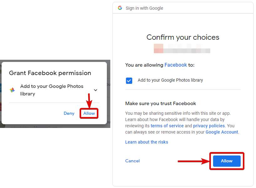 Grant Facebook permission of Google Photos