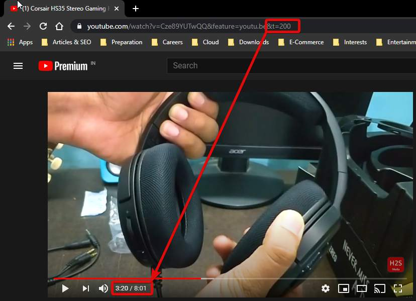 start a youtube video at a certain time embed