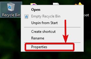 turn off windows 10 recycle bin