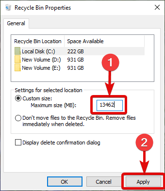 Don't move files to the Recycle Bin