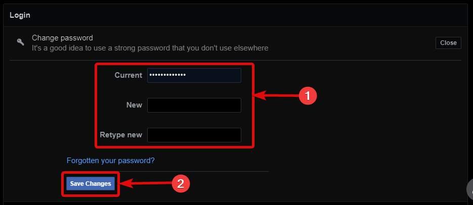 Change current Facebook password