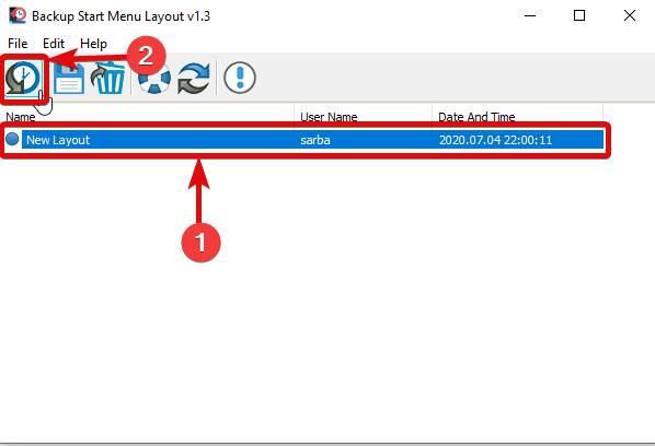 Restore Windows 10 menu layout Backup