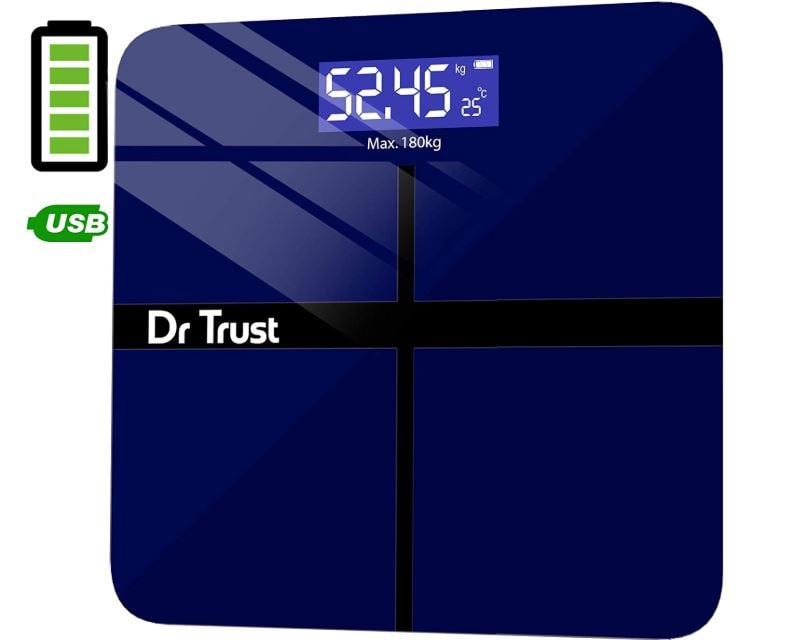 Dr Trust USA Electronic Executive Rechargeable Digital Weighing Scale for Human Body with Temperature Display min