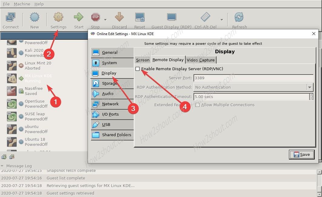 Enable VirtualBox Virtual Machine Remote Display