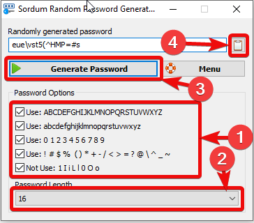 Generate strong password on Windows 10 or 7