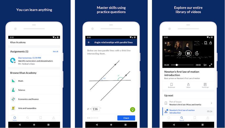 Khan Academy Free Learning App min