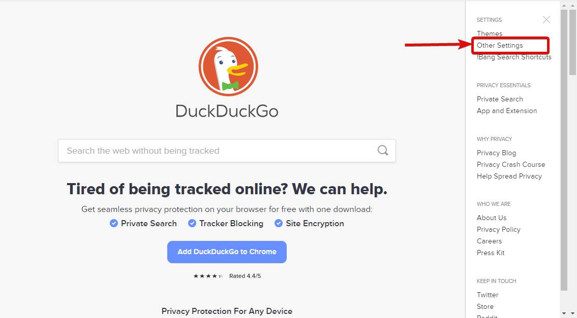 DuckDuckGo search engine settings open links in new tabs