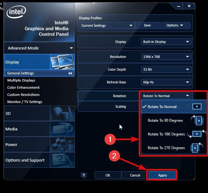 General Settings to rotate windows screen 180 degree