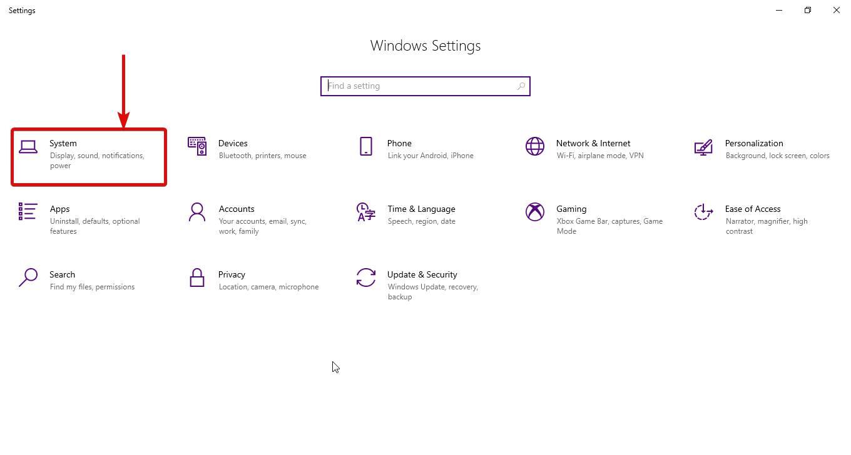 open Windows 10 display settings