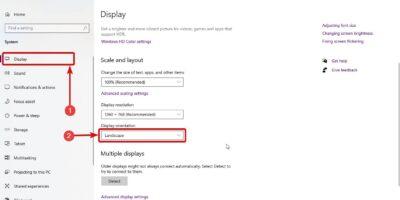 Change Windows 10 Display orientation