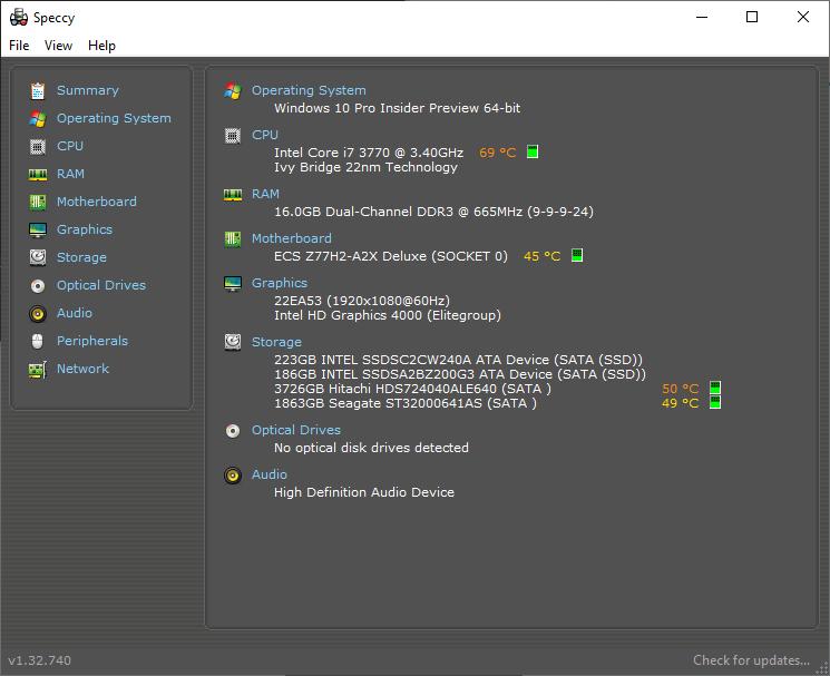 Speccy Windows 10 CPU and GPU