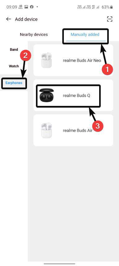 Manually add Buds Q 20