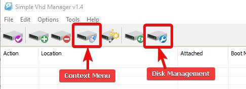 options to create and mount virtual disks, VHD Manager