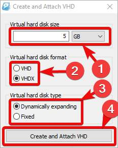 Dynamically expanding VHD storage windows 10