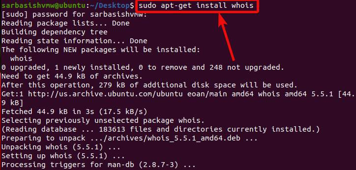 Install Whois tool on ubuntu and centos