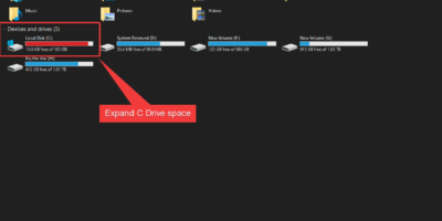 expand C drive storage space