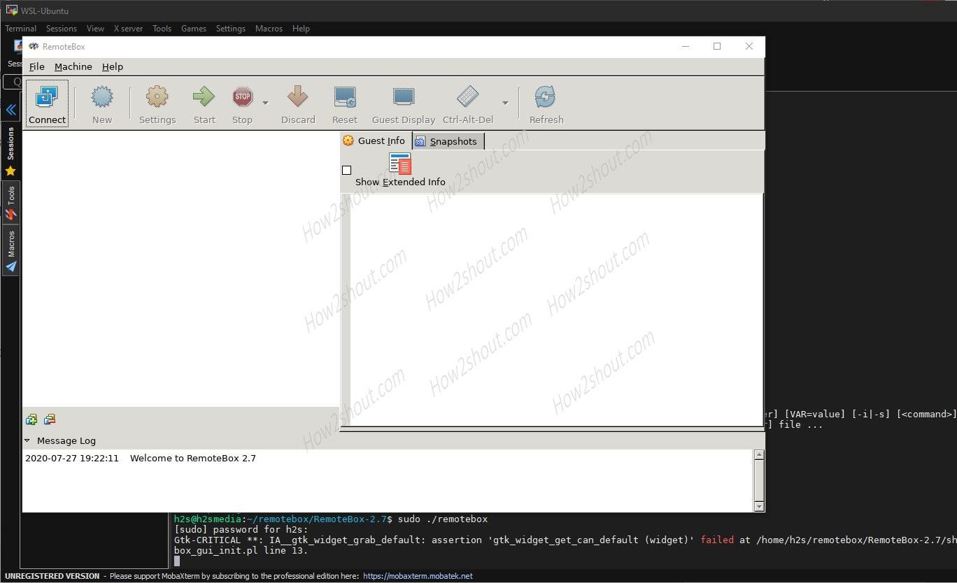 remotebox on Ubuntu Windows 10 WSL app