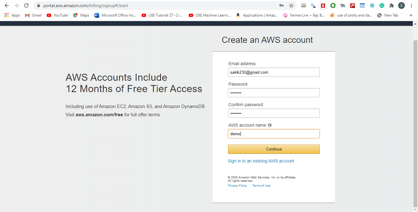 AWS Account for 12 months trial