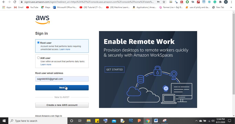 Login to AWS Jupyter Cloud server