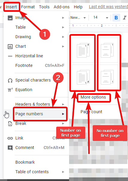 Page Numbers Google Docs