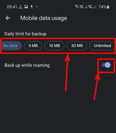 Mobile data usage google photos