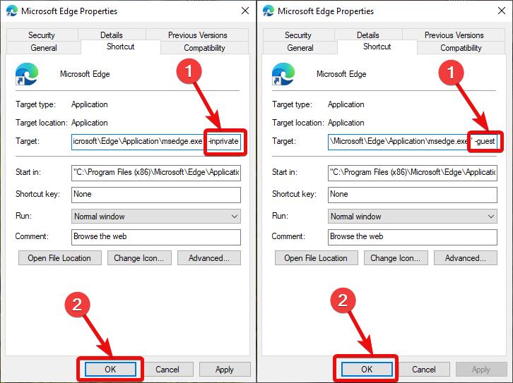 Create Desktop Shortcut to In private mode for Microsoft Edge