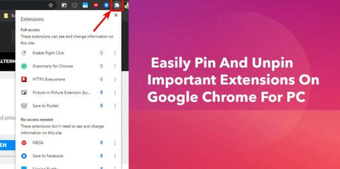 Easily pin and unpin important extensions on Google Chrome for PC min