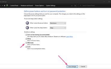 Enable Hibernate Option Windows 10