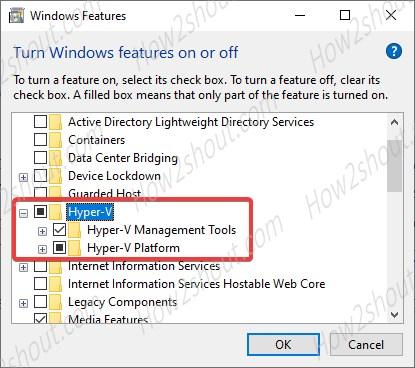 Enable Hyper V for Windows 10 or 7