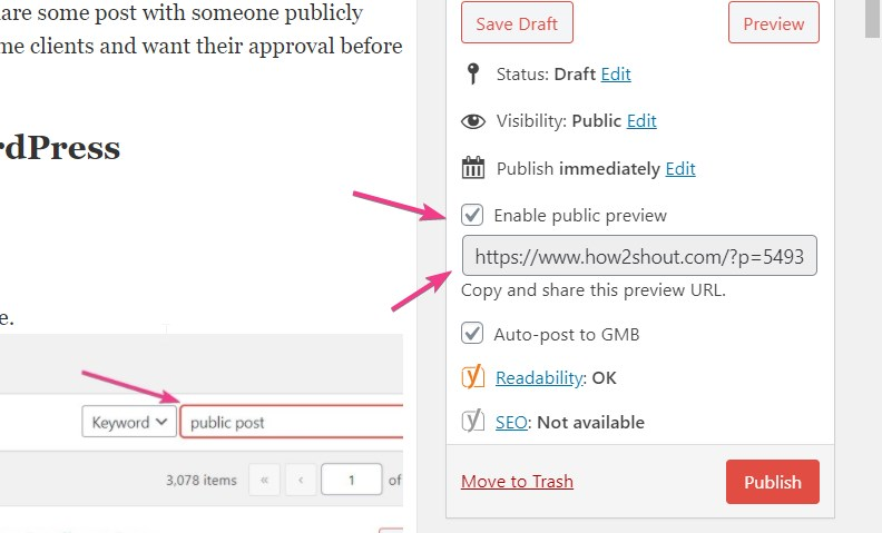 Enable Public Preview of an unpublished or Draft post